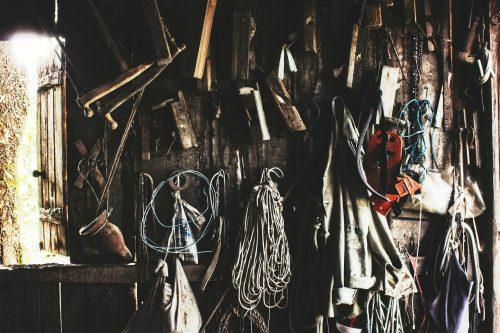 Werkzeug Lagerung im Garten