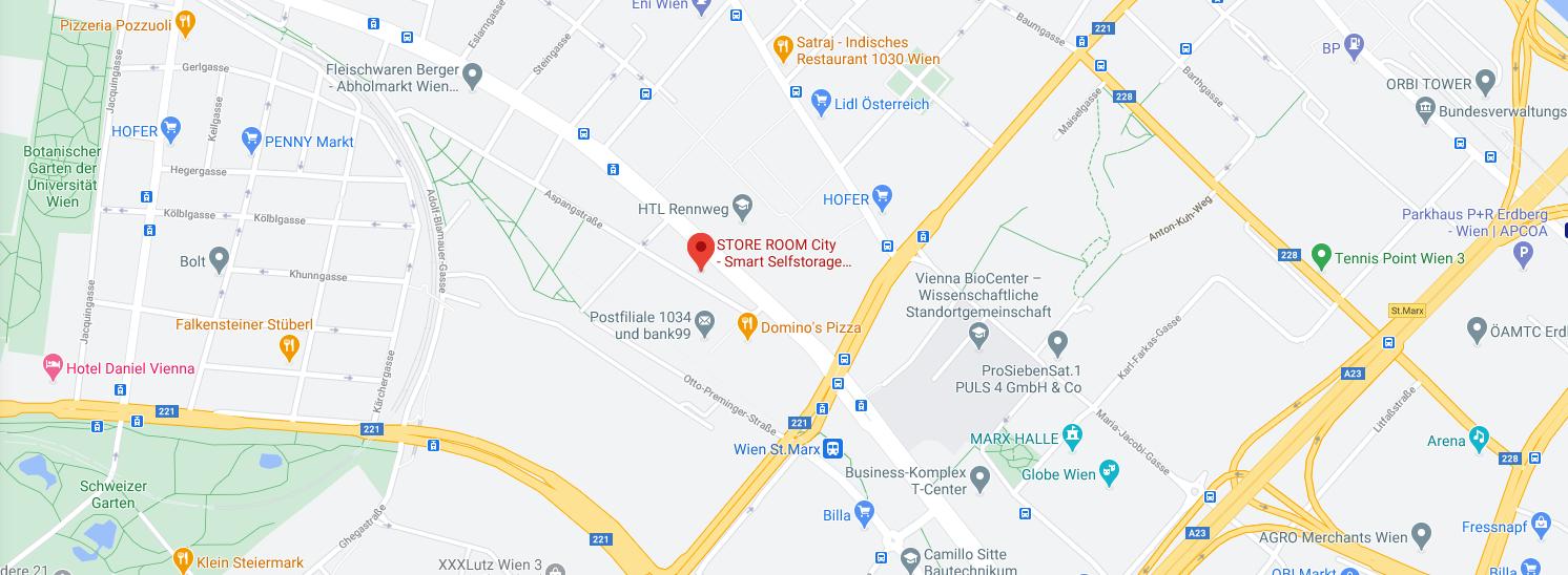 Store Room City 1030 Smart Selfstorage Map